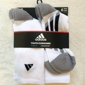 2/$18 Adidas 6 Pack of Youth Socks. Size 3-6